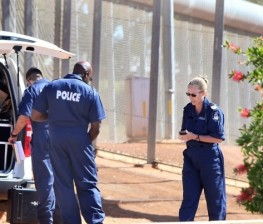 Police forensic officers at Wooroloo Prison Farm following a serious assault. Pic Michael O'Brien - The West Australian - 22nd April 2014 -